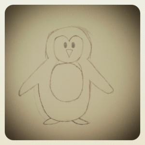 getekende pinguin